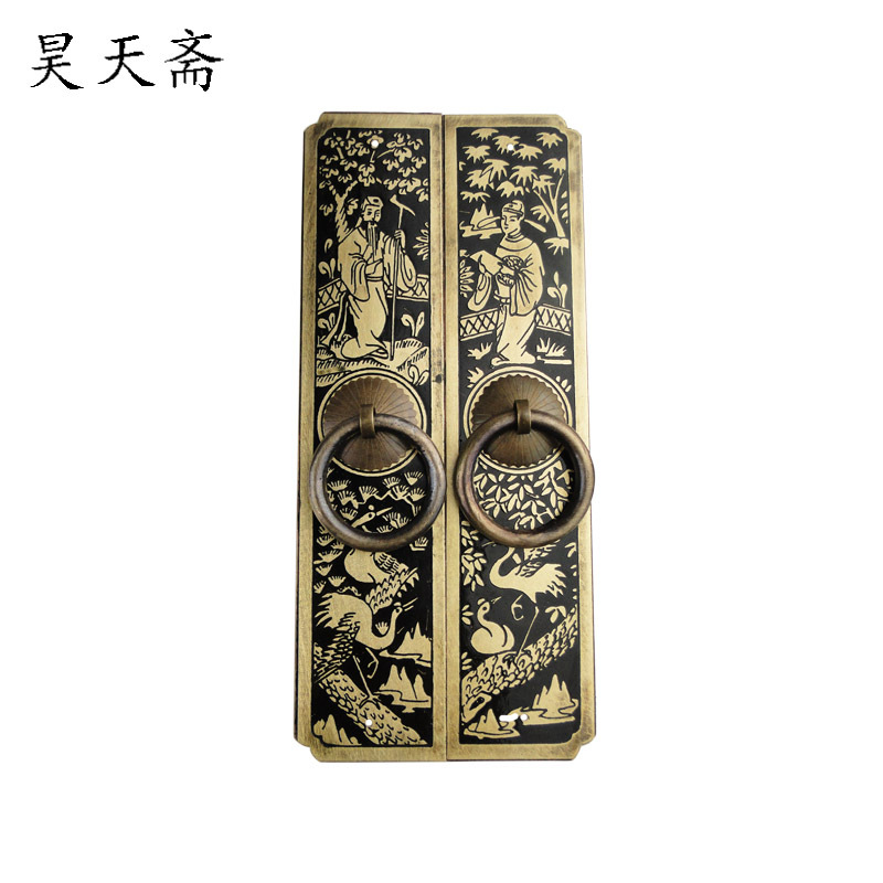 [Haotian vegetarian] copper door handle carved antique Chinese straight handle HTC 182