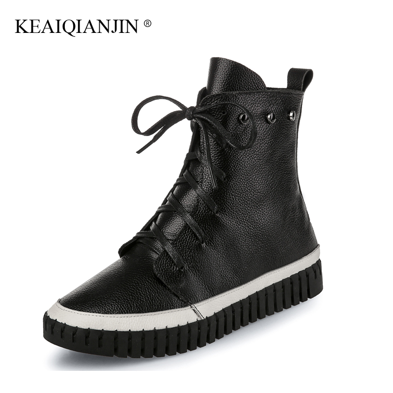 KEAIQIANJIN Woman Genuine Leather Ankle Boots Black White Lace-Up Plush Boots 2017 Autumn Winter Fashion Flat With Rivet Shoes high quality full cow skin genuine leather flat casual ankle boots women 2016 black white lace up fashion autumn walking shoes