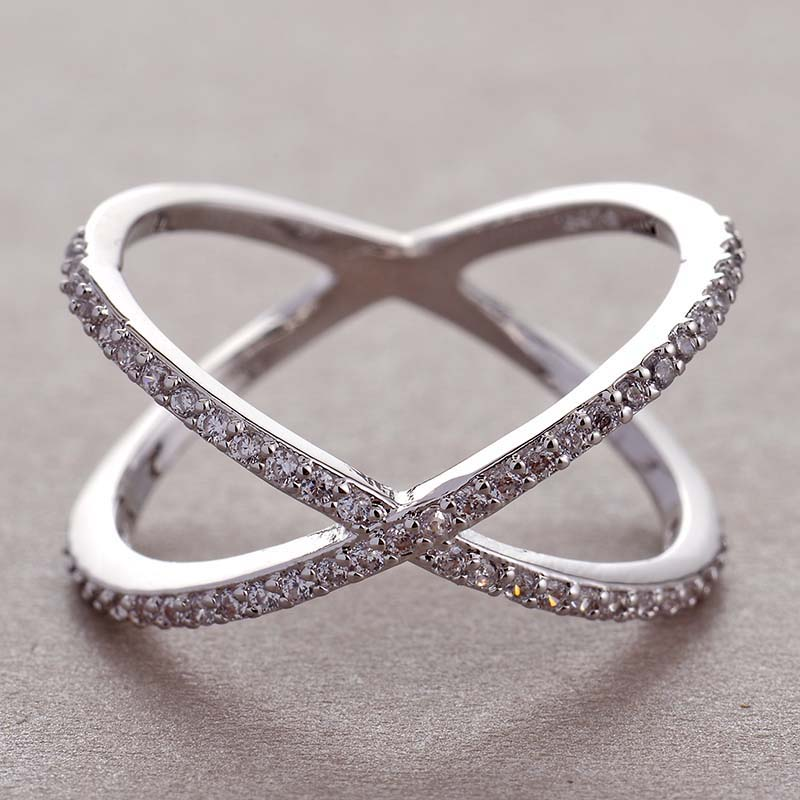 Cross-Ring Sign Micro-Paved Infinity Fashion Women Newest-Design Female Party For CZ