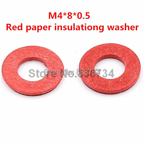 1000pcs m4*8*0.5 flat red paper m4 insulating washer for computer accessories