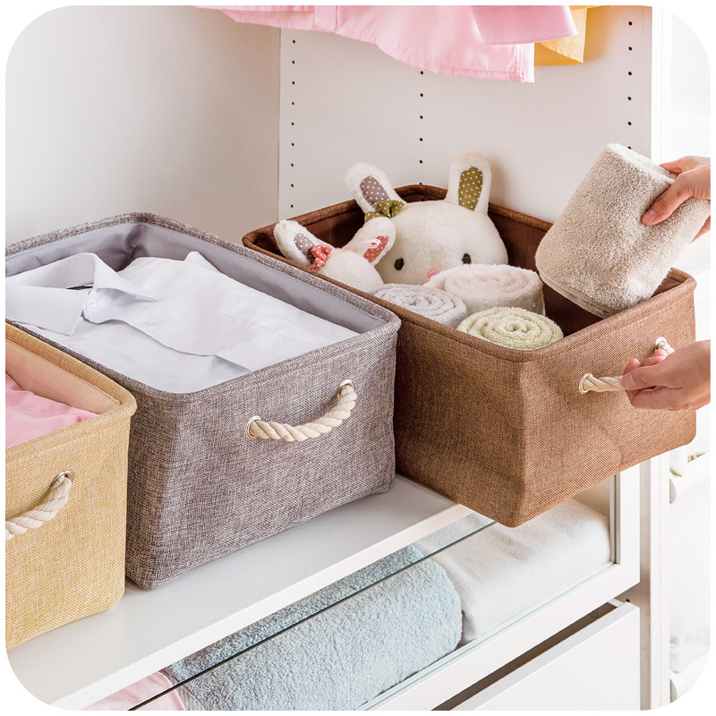 1pc Plain Linen Fabric With Handle Office Desk Accessories Desktop Stationery Holder Magazine Storage Box simple plain pillow 1pc