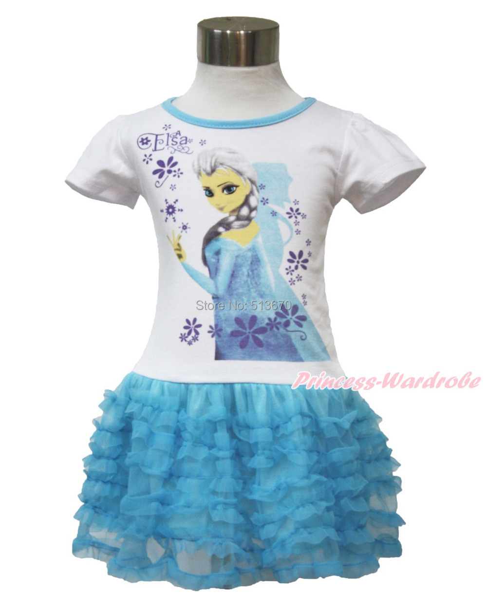 Snow Princess Elsa White Short Sleeves Girl Blue Ruffle One Piece Dress 2-7Year MAC105