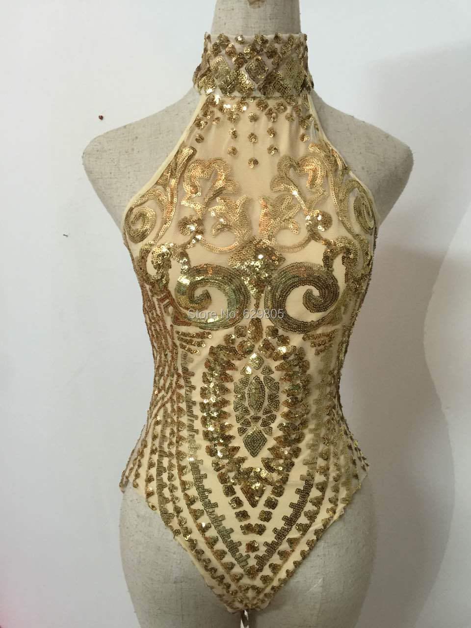 Золотые блестки боди мигает из двух предметов блестящие пикантные праздничный костюм на день Рождения Праздновать Show Для женщин Вечерняя О...