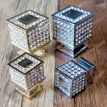 Or & Argent 21*21mm et 30*30mm Haute qualité cristal cubique en forme de poignée de trou unique/poignée de porte/mobilier de traction/armoire traction