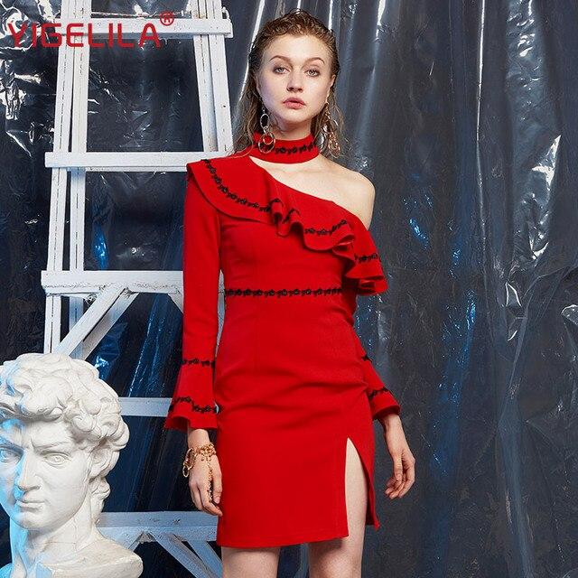 YIGELILA 2019 Fashion Women Red Halter Dress Autumn Flare Sleeve Ruffles Empire Slim Knee Length One Shoulder Party Dress 63332
