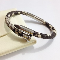 Real Stingray Python Leather Nail Bracelet For Men Hot Sale Diy Leather Cord Customize Stainless Steel Nail Bracelet