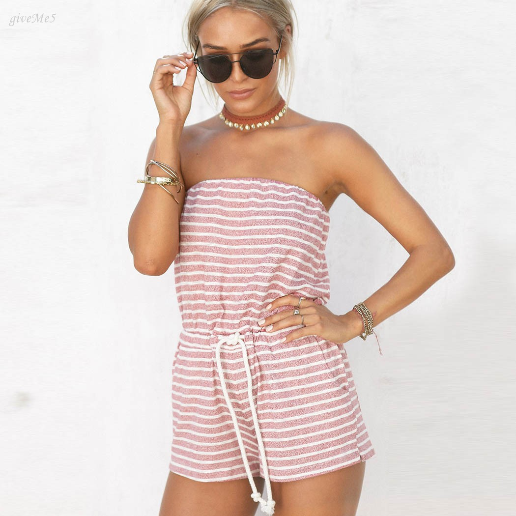 Sexy Women Summer Clothing Strapless Striped Jumpsuit ...