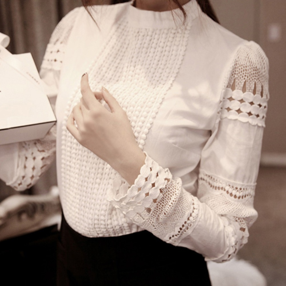 Fashion Elegant Women Shirt Crochet Slim Tops Solid Embroidery Long Sleeve Formal White Blouse