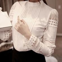 Fashion Elegant Women Shirt Crochet Slim Tops Solid Embroidery Long Sleeve Forma