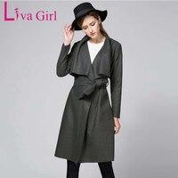 Liva Girl Women Winter Autumn Jacket Long Women Coat Slim Collar Long Style Soild Woolen Coat