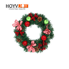HOYVJOY Christmas Bow-knot Wreaths Fruit 30cm Diameter Big Wreath Artifical Flower PVC Material