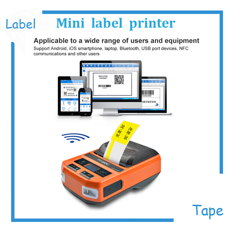 Free shipping New Mini USB/Bluetooth/NFC portable label tape maker machine ribbon printer thermal label printer mini thermal label printer label printing machine with usb bluetooth for network cabel tail cable flat cable check cable etc