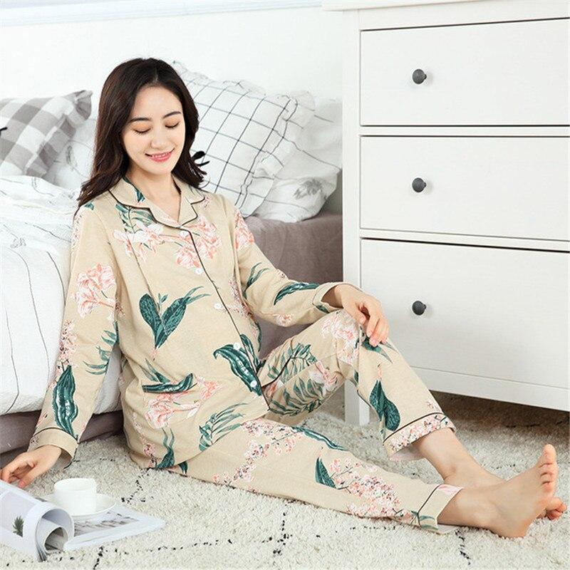 6fc604b23eef7 Floral Print Cotton Maternity Nursing Nightwear Summer Autumn Sleepwear  Night dress for Pregnant Women Pregnancy Pajamas