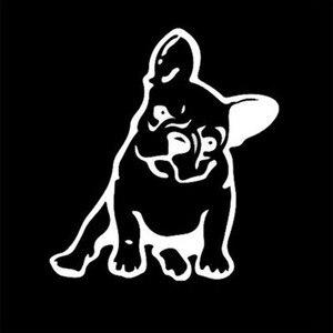 Image 2 - Buldog francuski pies winylowa tablica naścienna dekoracja okienna urocze zwierzę samochód naklejka czarny/srebrny # B1103