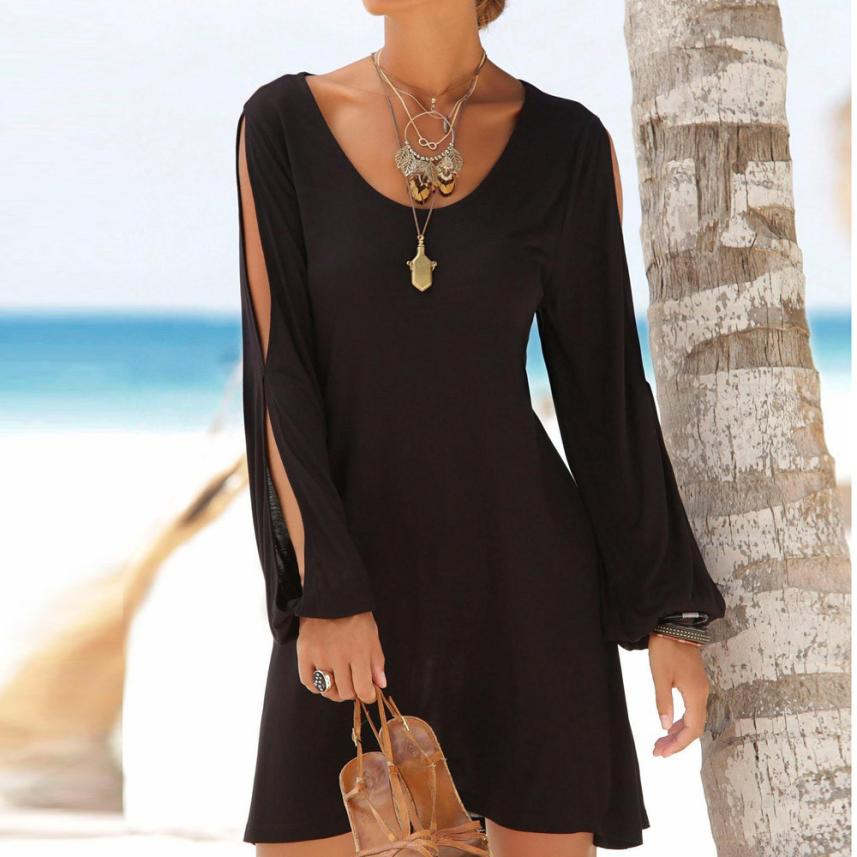 HTB1WyBLFSBYBeNjy0Feq6znmFXab KANCOOLD dress Fashion Women Casual O-Neck Hollow Out Sleeve Straight Dress Solid Beach Style Mini dress women 2018jul20