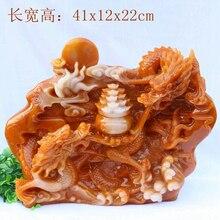 Hand engraving Artwork Tian Huangshi jade imitation yellow stone huanglongyu carved ornaments Ssangyong grab treasure