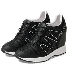 NAYIDUYUN  Trainers Shoes Women Lace Up Tennis Cow Leather Wedges High Heel Pumps Breathable Party Sneakers Casual