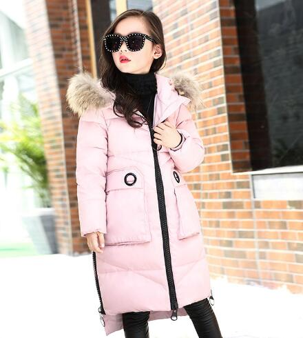 Girls Down Jackets 2018 Winter Long Parkas Thicken Fur Collar Hooded Children Down Coats Outerwear kids Clothes -30degree jacket buenos ninos thick winter children jackets girls boys coats hooded raccoon fur collar kids outerwear duck down padded snowsuit