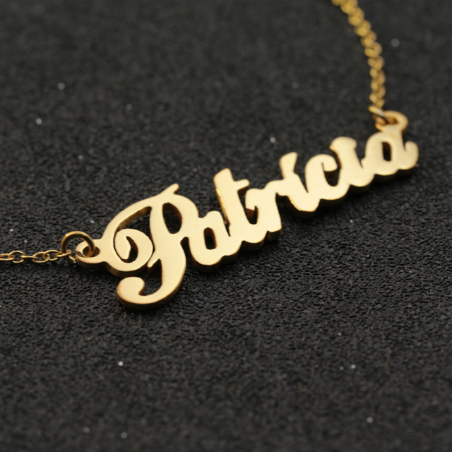 925 solid silver customized name pendant necklace with gold color 925 solid silver customized name pendant necklace with gold color personalized nameplate jewelry christmas gift aloadofball Gallery