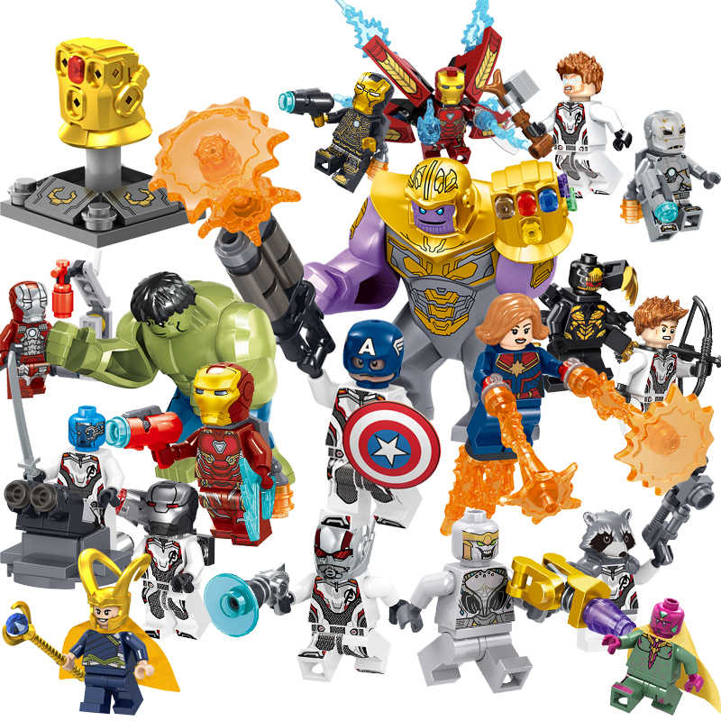 Avengers 4 Endgame Captain America Marvel Iron Man Thanos Deadpool Hulk Pahlawan Super Mini Figure Blok Bangunan Legoinglys Mainan