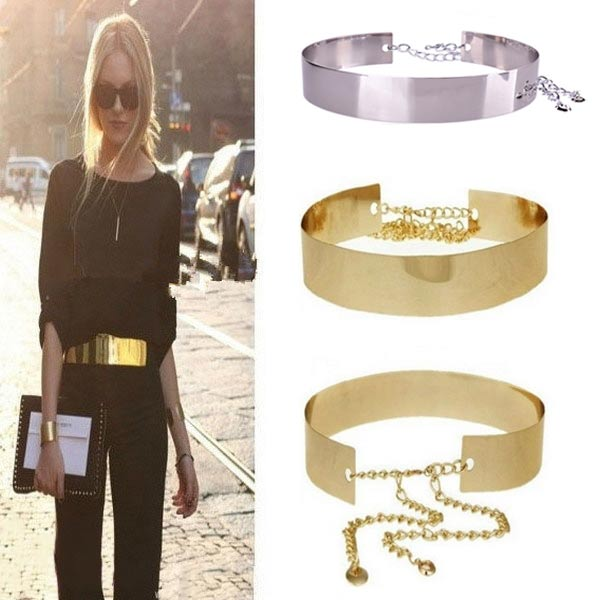 Fashion Women Metallic Wide Belt Cummerbunds Punk Full Metal Mirror Surface Waist Belt With Chains H9