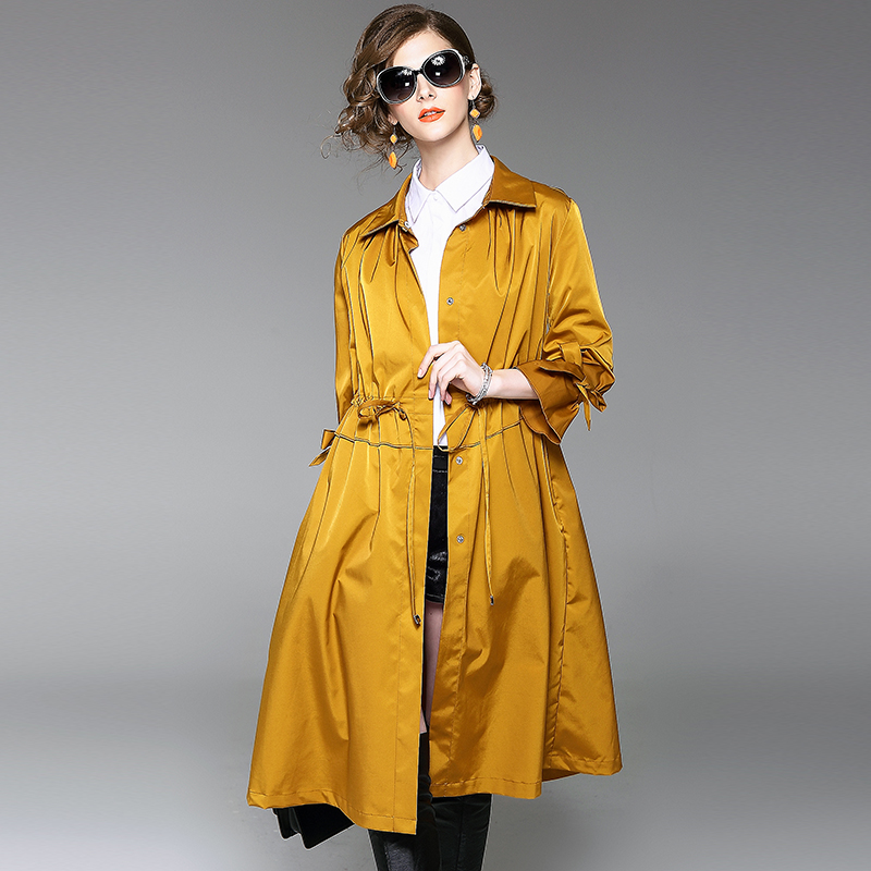women trench coat size plus spring autumn 2017 loose women's outwear coat  vintage fashion long yellow - Popular Yellow Trench Coat Women-Buy Cheap Yellow Trench Coat
