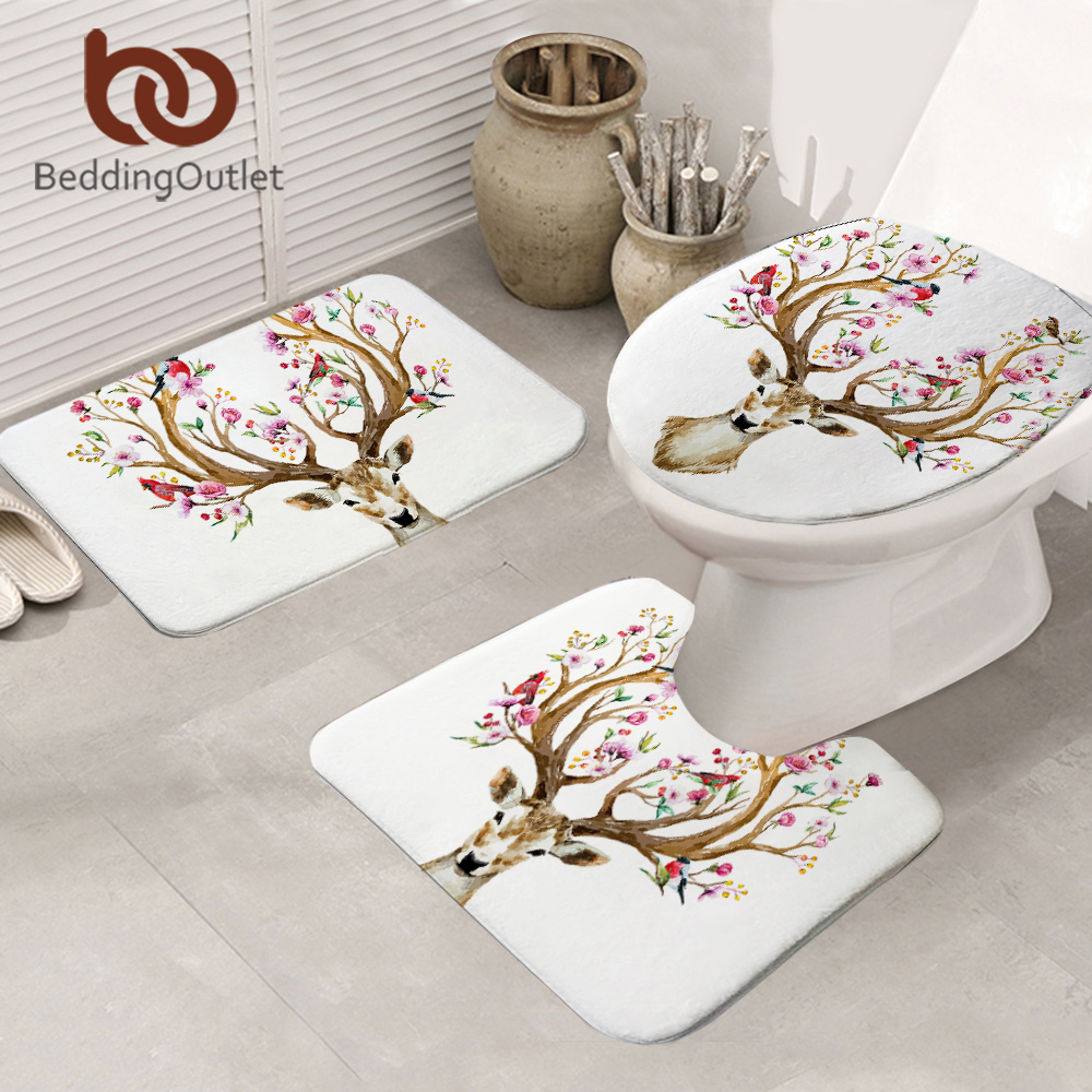BeddingOutlet Floral Elk <font><b>Deer</b></font> Non-slip <font><b>Bathroom</b></font> <font><b>Mat</b></font> Flowers 3-Piece <font><b>Mat</b></font> Set Birds Leaf Toilet Seat Cover Animal Carpet 50x80cm image