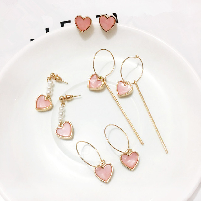 Темпераментные плавильные раковины для девочек и студентов, элегантные жемчужные серьги в форме сердца с розовыми серьгами