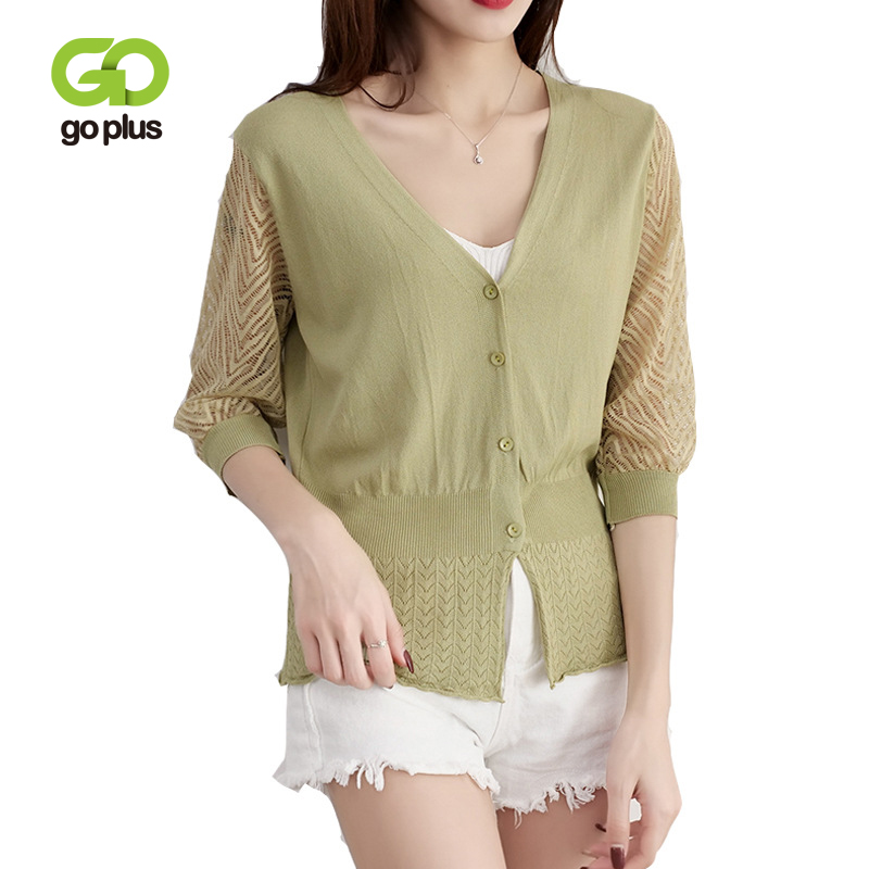 GOPLUS 6 Colors Knitted Cardigan Womens Simmer Hollow Three Quarter Sleeve Women Sweater Cost Female Cardigans Outerwear C8070