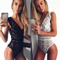Sexy Women Sleeveless Deep V Neck Lace Crochet Jumpsuit Romper Hot Ladies Hollow Out Playsuit Sleeveless