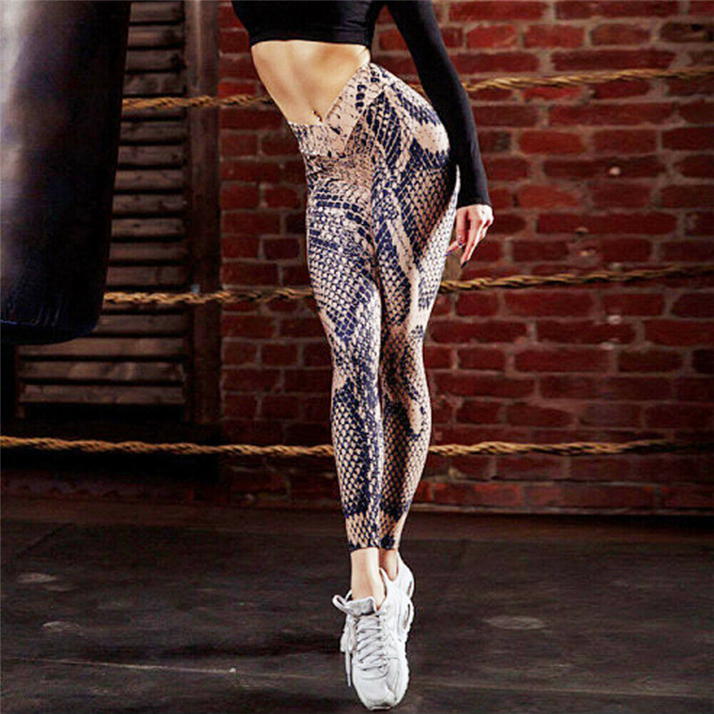 New Fashion Womens Ladies Summer Workout Fitness Skinny Pencil Pants Casual Elastic High Waist Athletic Snake Skin Printed