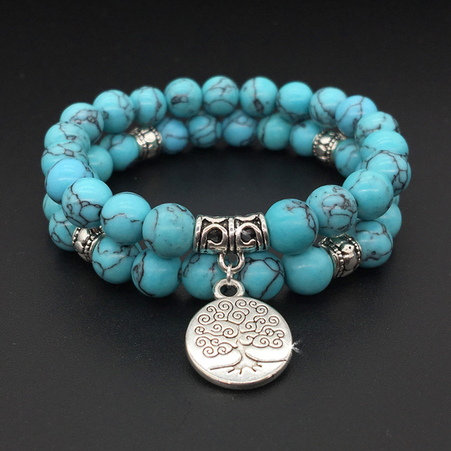 Tree Of Life Jewelry Yoga Mala Bracelet Stone Healing Protection Elastic Beaded Stacking Spiritual