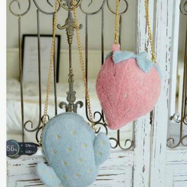 Милые плюшевые клубника кактус Сумка Женская Лолита Сладкий цепи мобильного телефона маленькая сумка Кошельки