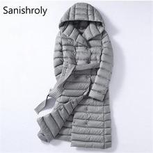 Sanishroly 2018 White Duck Down Jacket Tops Women Sashes Long Ultra Light Down Coat Parka Female Hooded Outerwear Plus Size 288