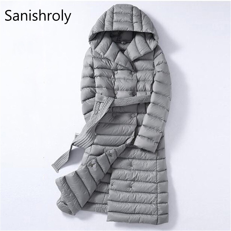 Sanishroly 2018 White Duck   Down   Jacket Tops Women Sashes Long Ultra Light   Down     Coat   Parka Female Hooded Outerwear Plus Size 288