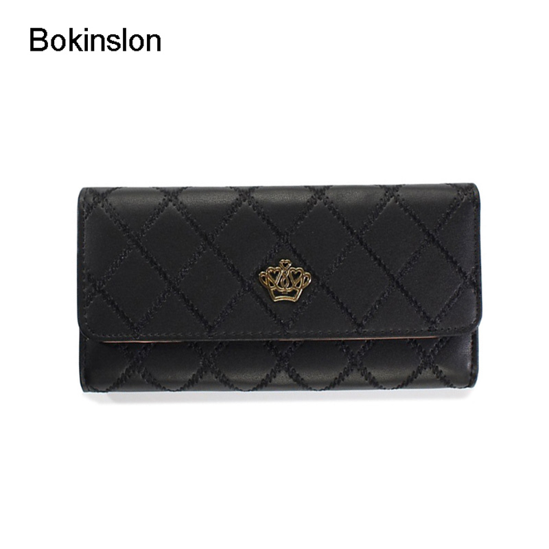 Bokinslon Women's Wallet Fashion Patent Leather Case Grain Designer Wallet For Woman Casual All-Match Famous Brand Women Wallet kujing wallet high quality fashion lingge women wallet free shipping crown patent leather multi card bit cheap casual wallet