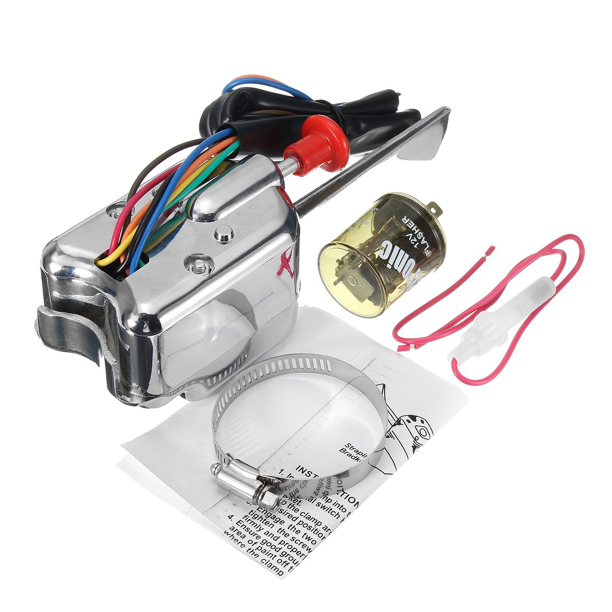 12v chrome universal street hot rod turn signal switch 7 wire for ford buick  [ 1200 x 1200 Pixel ]