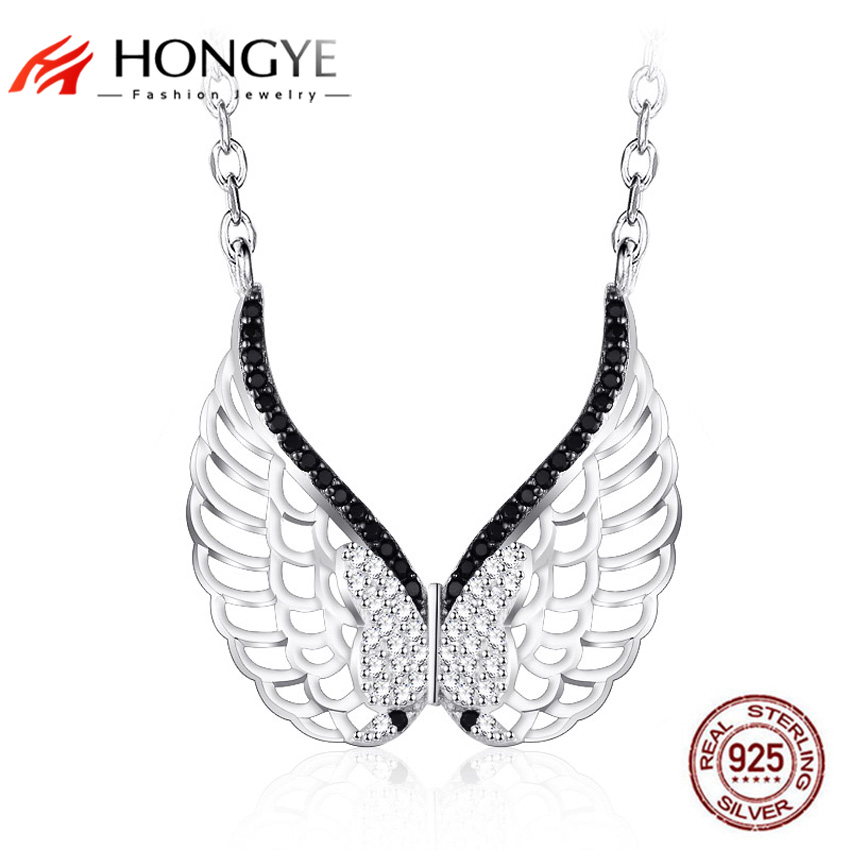 HONGYE Hollow Crystal Butterfly Collares Angel Wing Choker