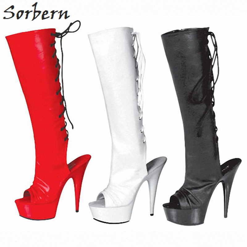 Sorbern White Women Boots Ladies Party Boots Round Toe Botines Mujer 2018 Chaussures Femme Zipper Fashion Womens Boots sorbern over the knee length women boots square heel botines mujer 2018 chaussures femme womens boots
