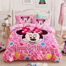 Disney Minnie mouse bedding set for kids 100% cotton pink Duvet Cover Flat Sheet Pillow Cases Single Queen Size Bed Linen(China)