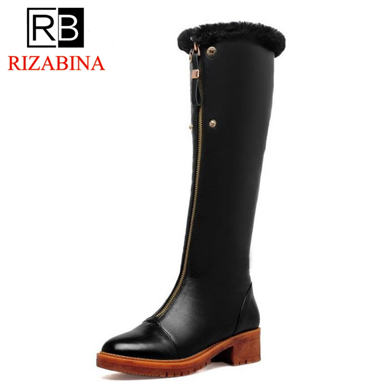 RizaBina Women Genuine Leather Knee High Heel Boots Women Warm Fur Shoes For Cold Winter Long Botas Women Footwears Size 33-40 мойка кухонная mrg 651 оникс maris franke 114 0198 474
