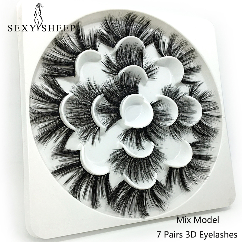 SEXYSHEEP Mix 7pairs 25mm 3D Mink Lashes Natural Long False Eyelashes Volume Fake Lashes Makeup Extension Eyelashes Maquiagem