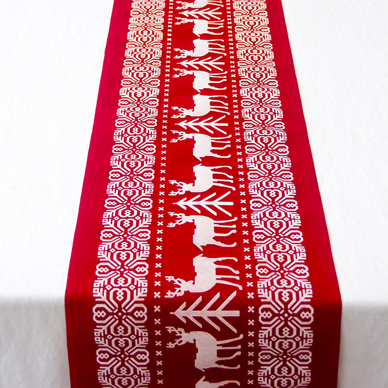 28x270cm Linen Cotton Christmas Table Runner Snowflake Elk Red Table Runners Cloth Christmas Decorations For Home New Year Gift