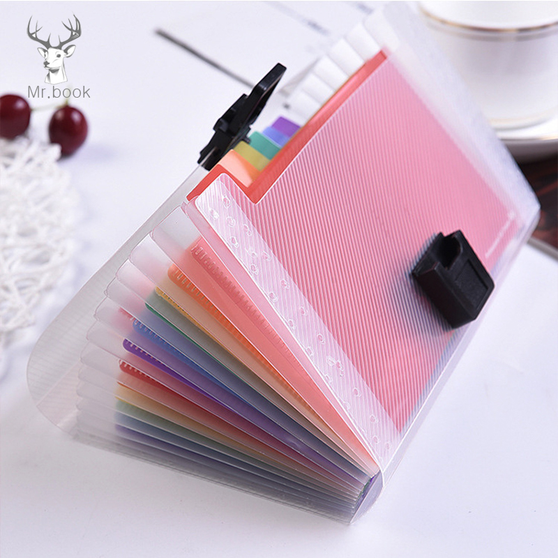 13 Layers Plastic Rainbow Color A6 File Folder Small Document Bags Expanding Wallet Bill Folders For Documents Fichario Escolar