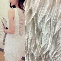 PanlongHome 5 ярдов жоржет бахромой Вышивка Кружева Вечернее платье Ceremony свадебное платье Одежда Швейные ткани