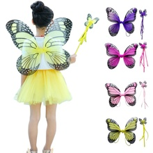 Hot Double Folding Butterfly Fairy Wings Costume  Stick Props Children Costumes Suit Festive Party Supplies