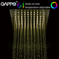 GAPPO shower head Rainfall Shower Head 12 Led system bath Square Color Changing Lights bathroom faucet water mixer