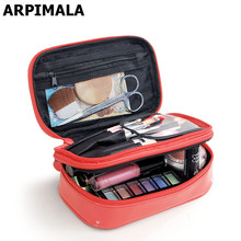 Korean Style Toiletry Bag Patent Leather Cosmetic Bags Waterproof Make up Organizer Women Travel Makeup Case Beauty Box Storage