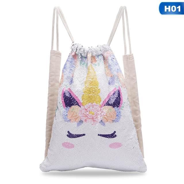 014c02b03d12 Unicorn Painting Drawstring Bag Sequins Mermaid Backpack Bag Magic  Reversible Shoulder Bag Casual Party Supply Home Storage
