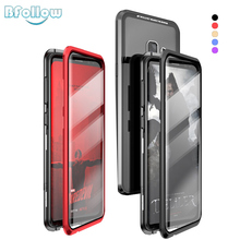 BFOLLOW 5D Double Curved Glass Case for for Samsung Galaxy S9 Plus / S9 Note 9 Auto Magnetic Metal 360 Full Body Aluminum Cover